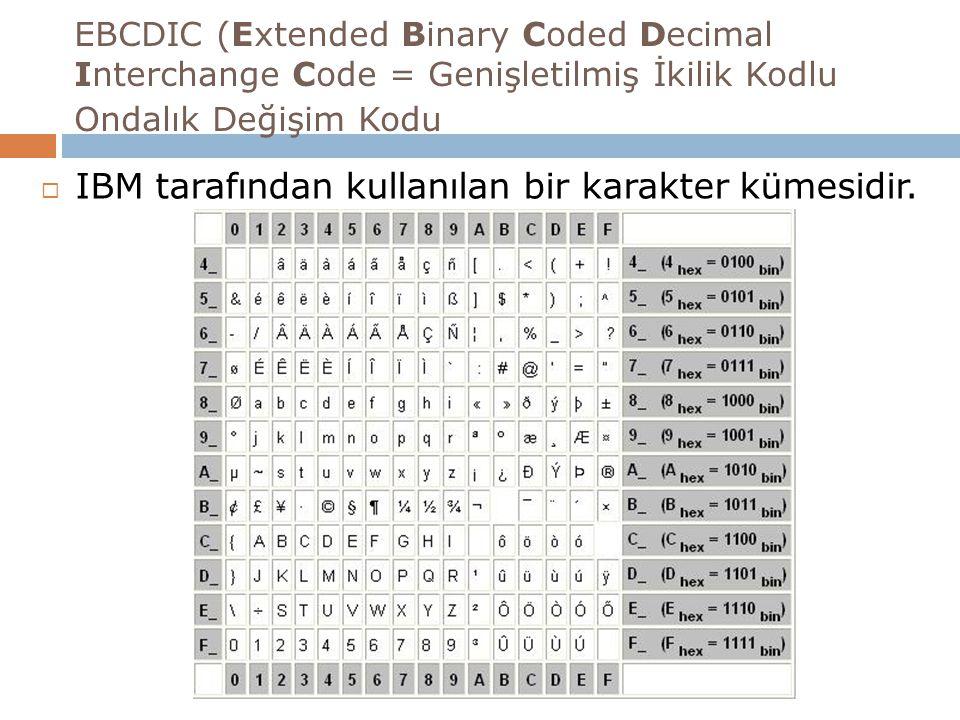 EBCDIC (Extended Binary Coded Decimal Interchange Code = Genişletilmiş İkilik Kodlu Ondalık Değişim Kodu  IBM tarafından kullanılan bir karakter kümesidir.