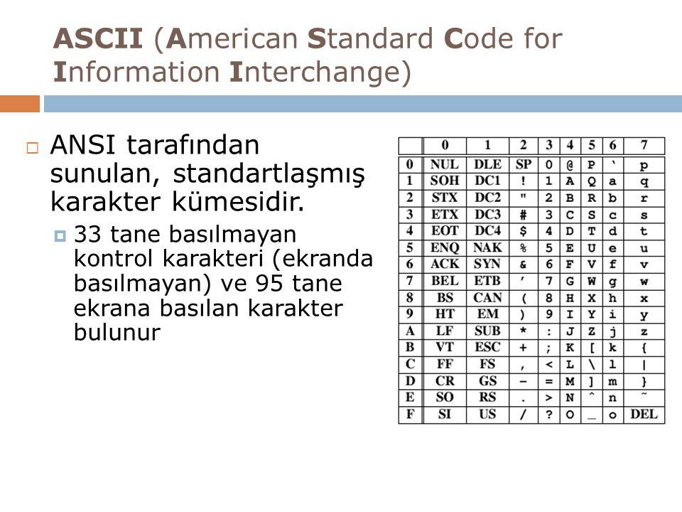 ASCII (American Standard Code for Information Interchange)  ANSI tarafından sunulan, standartlaşmış karakter kümesidir.