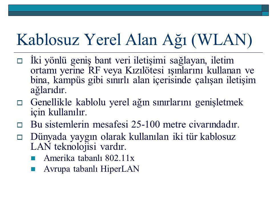 Kablosuz Yerel Alan Ağı (WLAN)  İki yönlü geniş bant veri iletişimi sağlayan, iletim ortamı yerine RF veya Kızılötesi ışınlarını kullanan ve bina, ka