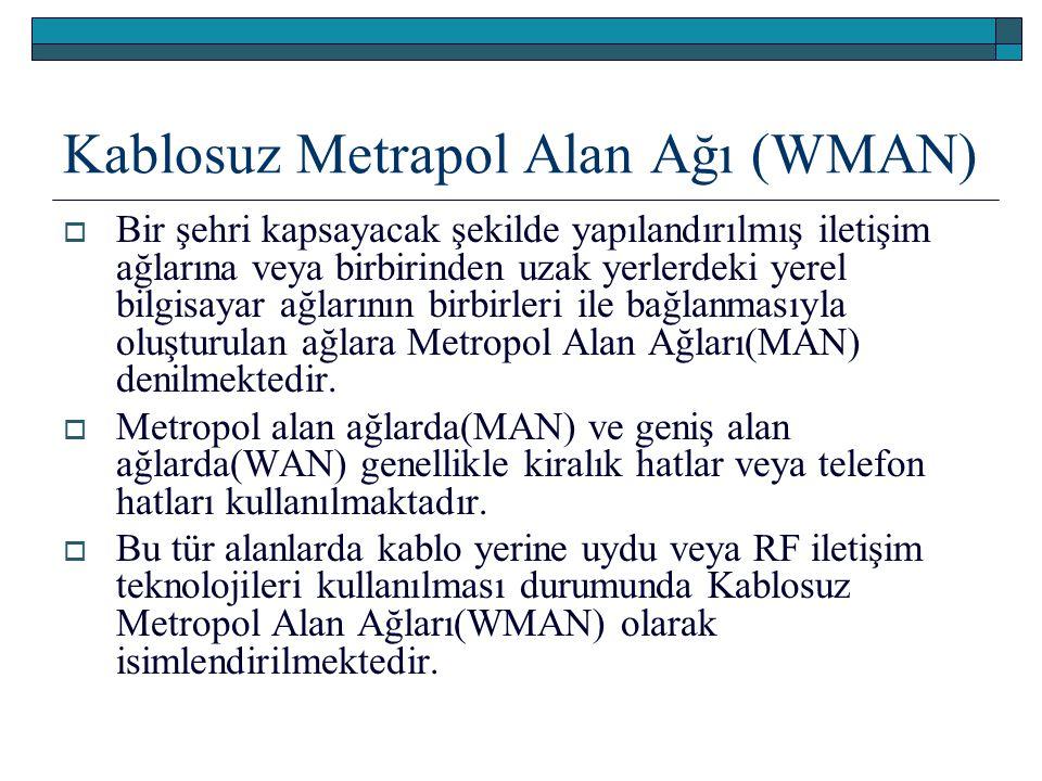 Kablosuz Metrapol Alan Ağı (WMAN)  Bir şehri kapsayacak şekilde yapılandırılmış iletişim ağlarına veya birbirinden uzak yerlerdeki yerel bilgisayar a