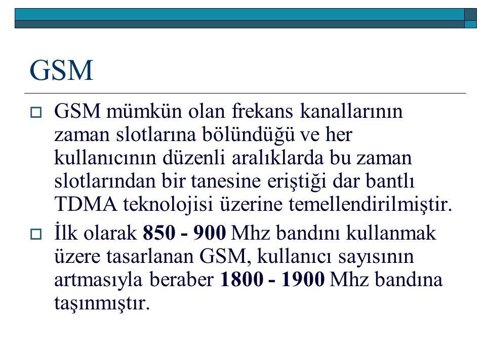 GSM  GSM mümkün olan frekans kanallarının zaman slotlarına bölündüğü ve her kullanıcının düzenli aralıklarda bu zaman slotlarından bir tanesine erişt