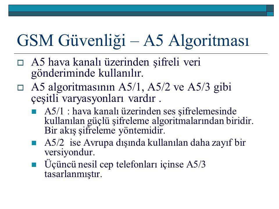GSM Güvenliği – A5 Algoritması  A5 hava kanalı üzerinden şifreli veri gönderiminde kullanılır.  A5 algoritmasının A5/1, A5/2 ve A5/3 gibi çeşitli va