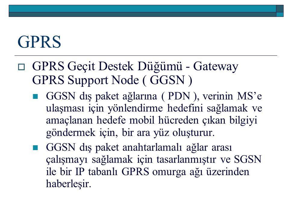 GPRS  GPRS Geçit Destek Düğümü - Gateway GPRS Support Node ( GGSN ) GGSN dış paket ağlarına ( PDN ), verinin MS'e ulaşması için yönlendirme hedefini