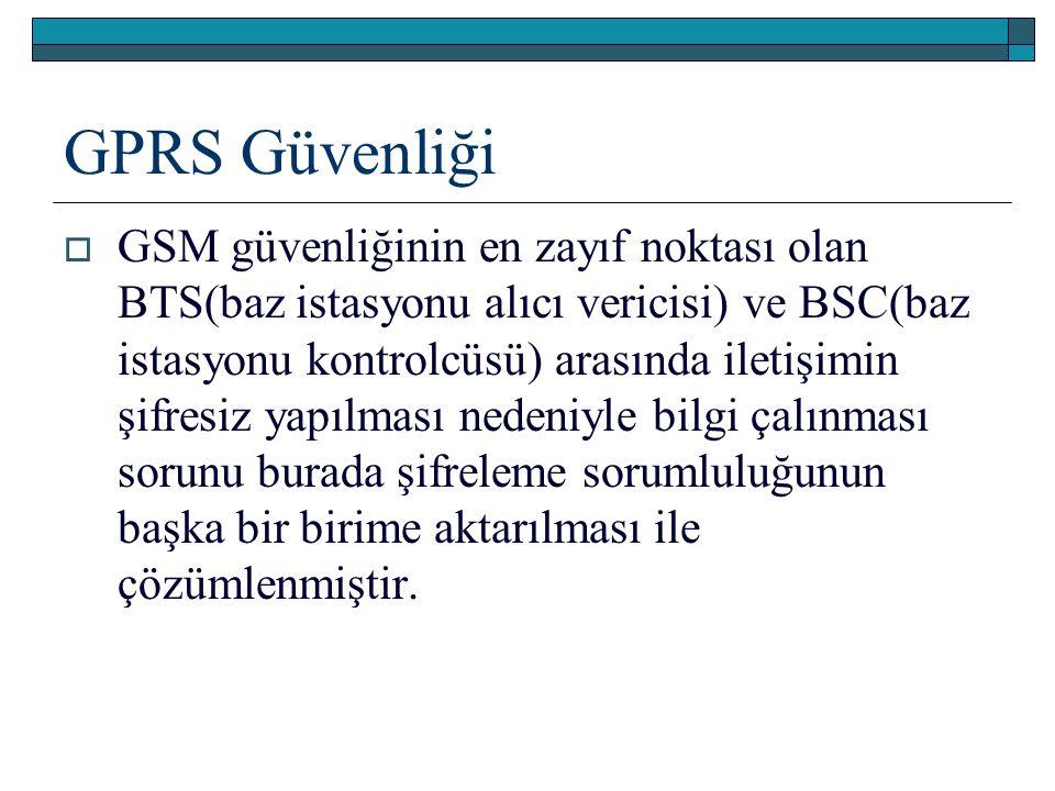 GPRS Güvenliği  GSM güvenliğinin en zayıf noktası olan BTS(baz istasyonu alıcı vericisi) ve BSC(baz istasyonu kontrolcüsü) arasında iletişimin şifres