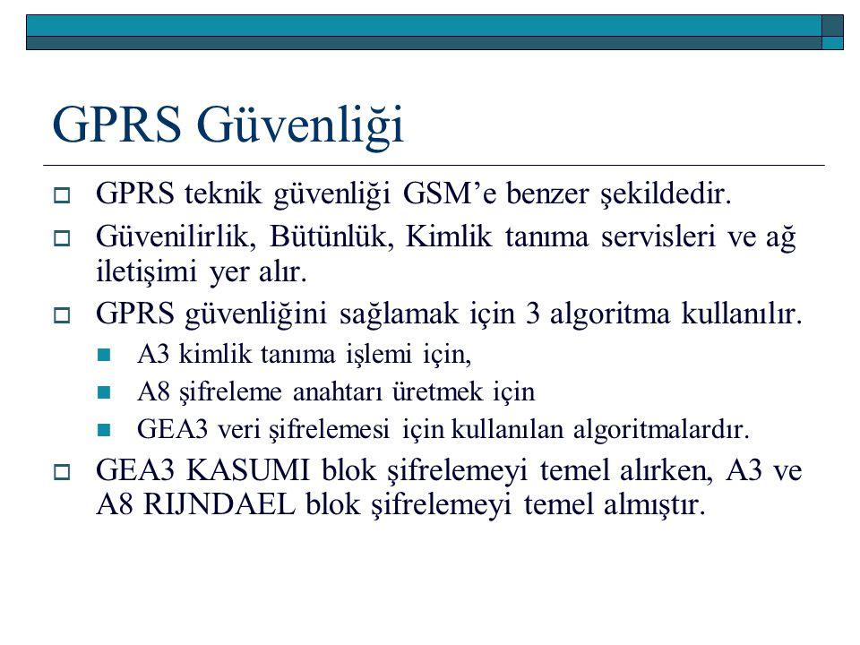 GPRS Güvenliği  GPRS teknik güvenliği GSM'e benzer şekildedir.  Güvenilirlik, Bütünlük, Kimlik tanıma servisleri ve ağ iletişimi yer alır.  GPRS gü