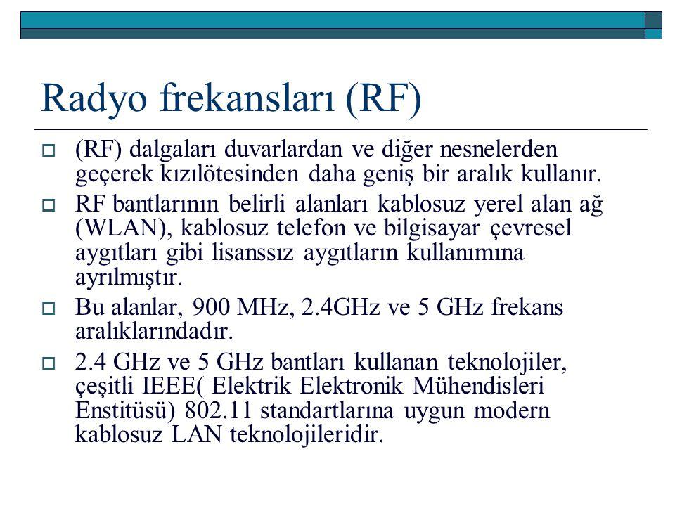 Radyo frekansları (RF)  (RF) dalgaları duvarlardan ve diğer nesnelerden geçerek kızılötesinden daha geniş bir aralık kullanır.  RF bantlarının belir