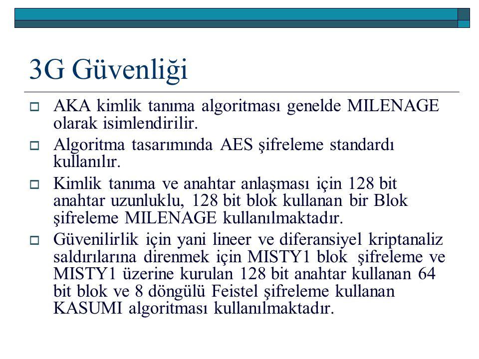 3G Güvenliği  AKA kimlik tanıma algoritması genelde MILENAGE olarak isimlendirilir.  Algoritma tasarımında AES şifreleme standardı kullanılır.  Kim