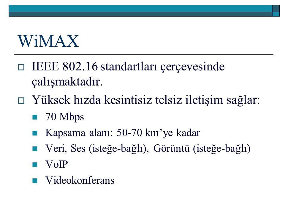 WiMAX  IEEE 802.16 standartları çerçevesinde çalışmaktadır.  Yüksek hızda kesintisiz telsiz iletişim sağlar: 70 Mbps Kapsama alanı: 50-70 km'ye kada