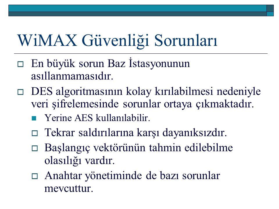 WiMAX Güvenliği Sorunları  En büyük sorun Baz İstasyonunun asıllanmamasıdır.  DES algoritmasının kolay kırılabilmesi nedeniyle veri şifrelemesinde s