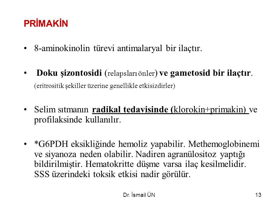 Dr.İsmail ÜN13 PRİMAKİN 8-aminokinolin türevi antimalaryal bir ilaçtır.