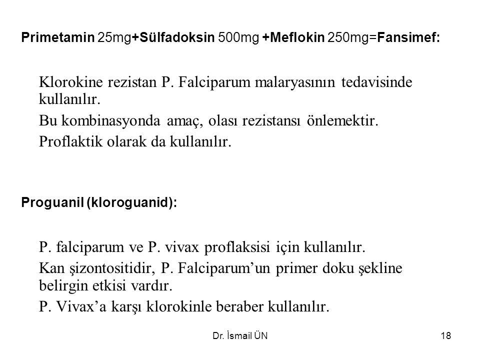 Dr.İsmail ÜN18 Primetamin 25mg+Sülfadoksin 500mg +Meflokin 250mg=Fansimef: Klorokine rezistan P.