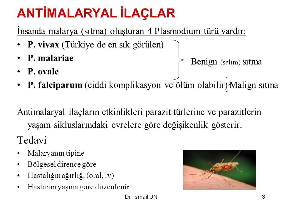 Dr.İsmail ÜN3 ANTİMALARYAL İLAÇLAR İnsanda malarya (sıtma) oluşturan 4 Plasmodium türü vardır: P.