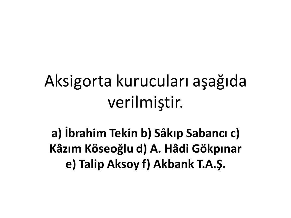 Aksigorta kurucuları aşağıda verilmiştir. a) İbrahim Tekin b) Sâkıp Sabancı c) Kâzım Köseoğlu d) A. Hâdi Gökpınar e) Talip Aksoy f) Akbank T.A.Ş.