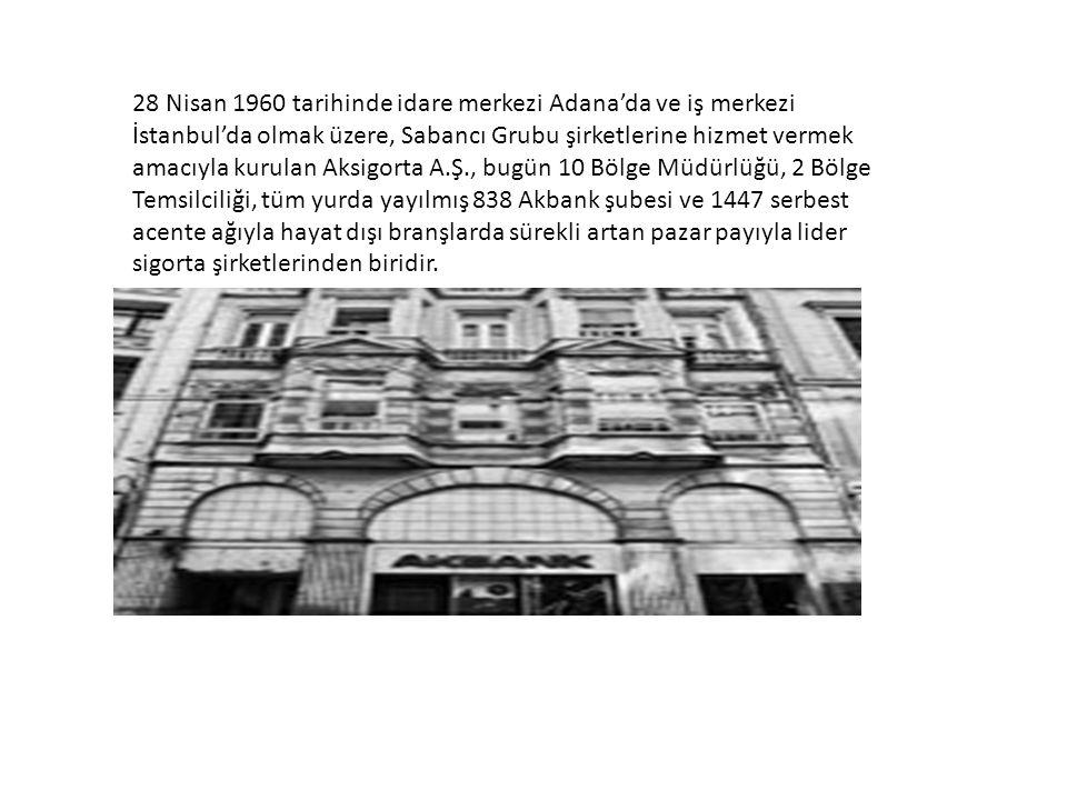 28 Nisan 1960 tarihinde idare merkezi Adana'da ve iş merkezi İstanbul'da olmak üzere, Sabancı Grubu şirketlerine hizmet vermek amacıyla kurulan Aksigo