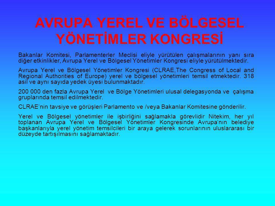 AVRUPA YEREL VE BÖLGESEL YÖNETİMLER KONGRESİ Bakanlar Komitesi, Parlamenterler Meclisi eliyle yürütülen çalışmalarının yanı sıra diğer etkinlikler, Av