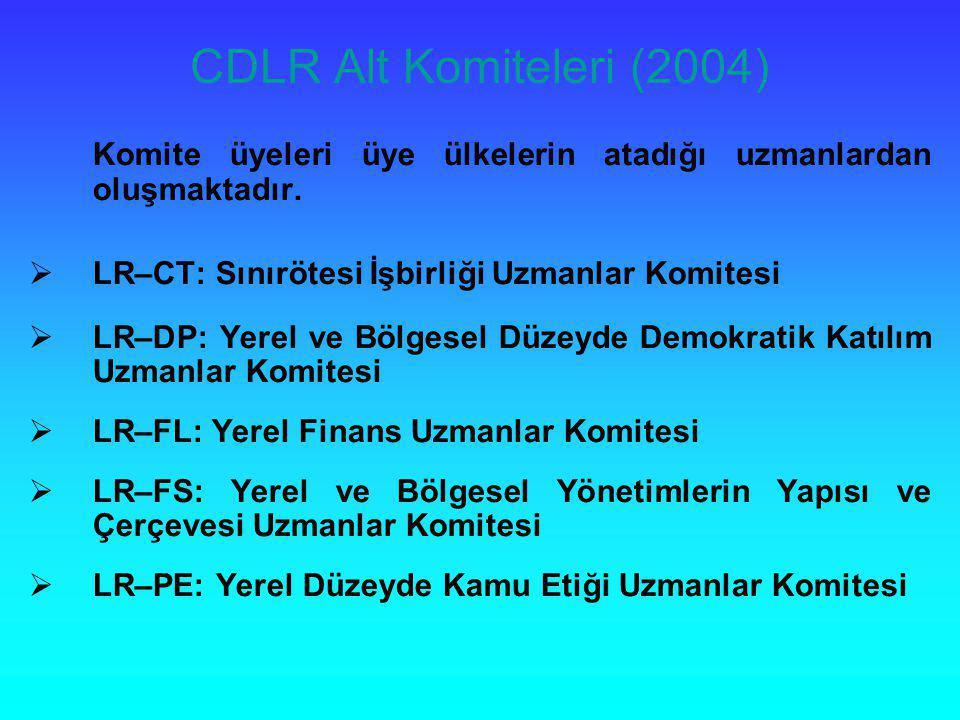 CDLR Alt Komiteleri (2004) Komite üyeleri üye ülkelerin atadığı uzmanlardan oluşmaktadır.  LR–CT: Sınırötesi İşbirliği Uzmanlar Komitesi  LR–DP: Yer