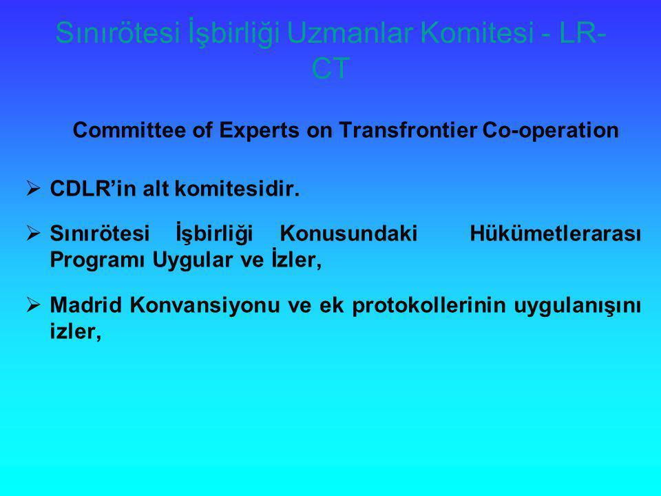 Sınırötesi İşbirliği Uzmanlar Komitesi - LR- CT Committee of Experts on Transfrontier Co-operation  CDLR'in alt komitesidir.  Sınırötesi İşbirliği K