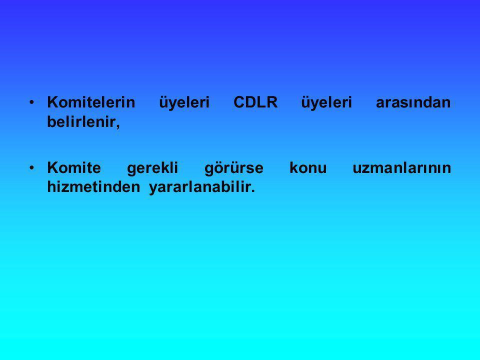 Komitelerin üyeleri CDLR üyeleri arasından belirlenir, Komite gerekli görürse konu uzmanlarının hizmetinden yararlanabilir.