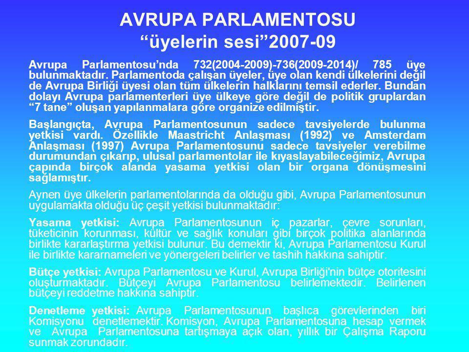 """AVRUPA PARLAMENTOSU """"üyelerin sesi""""2007-09 Avrupa Parlamentosu'nda 732(2004-2009)-736(2009-2014)/ 785 üye bulunmaktadır. Parlamentoda çalışan üyeler,"""