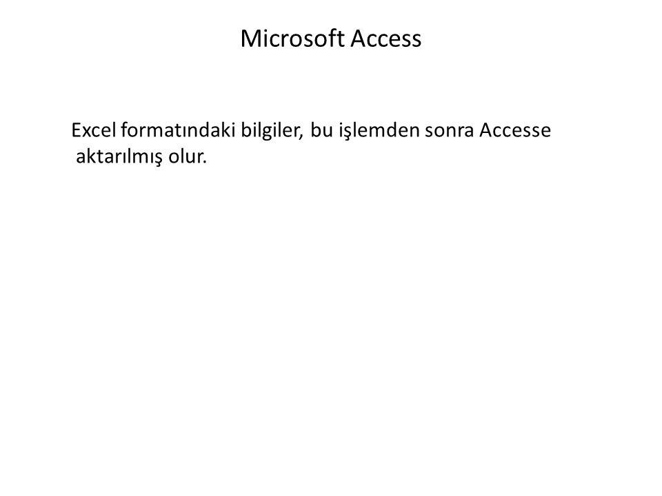 Microsoft Access Excel formatındaki bilgiler, bu işlemden sonra Accesse aktarılmış olur.