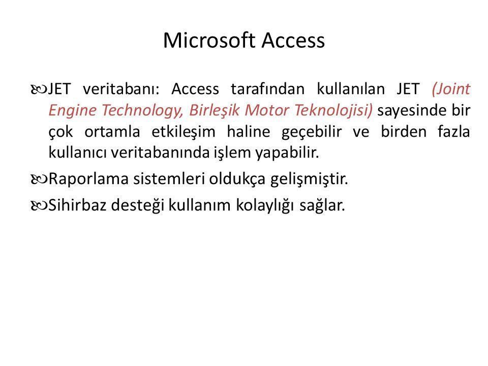 Microsoft Access JET veritabanı: Access tarafından kullanılan JET (Joint Engine Technology, Birleşik Motor Teknolojisi) sayesinde bir çok ortamla etki