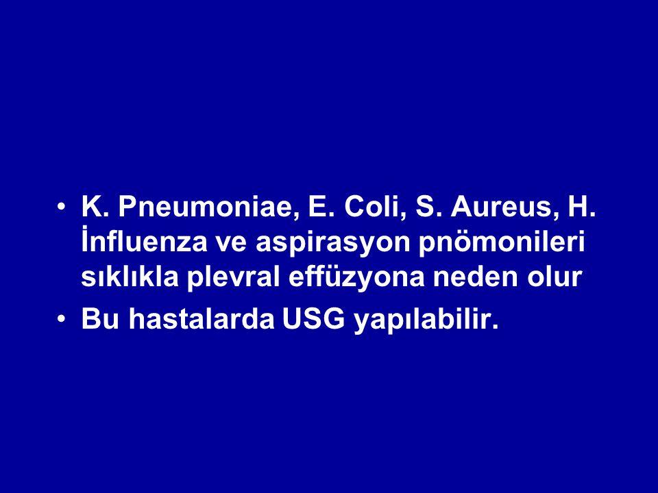 K. Pneumoniae, E. Coli, S. Aureus, H. İnfluenza ve aspirasyon pnömonileri sıklıkla plevral effüzyona neden olur Bu hastalarda USG yapılabilir.