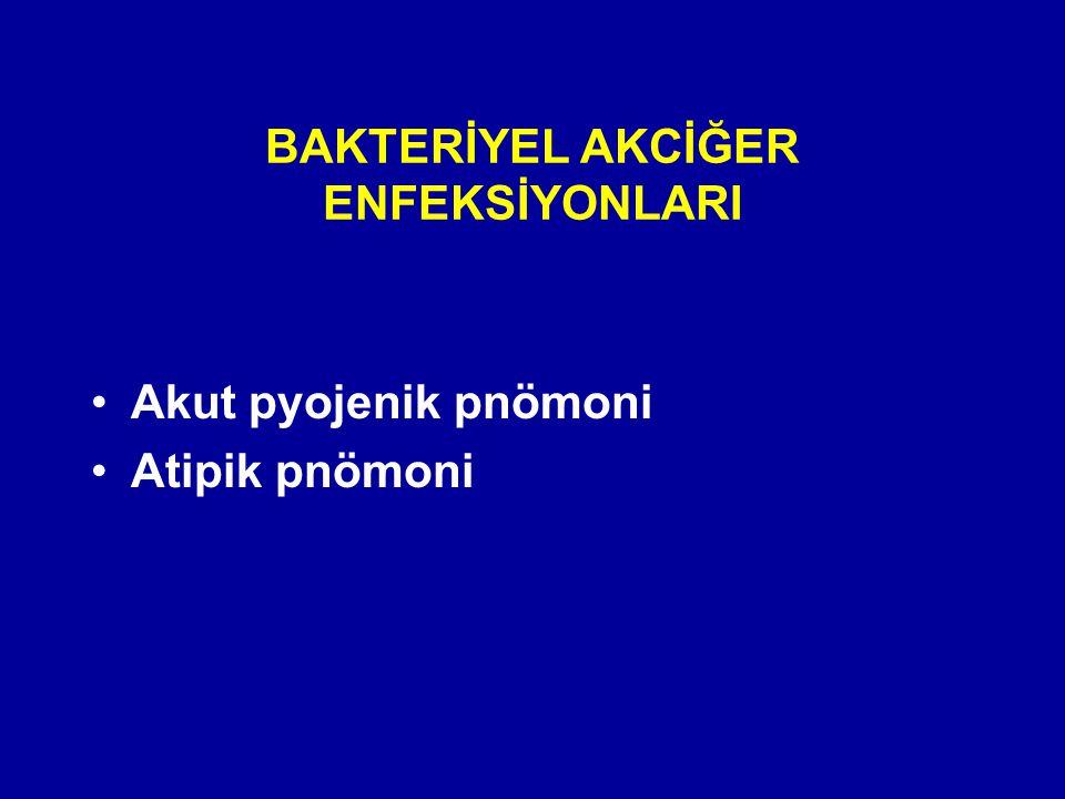 BAKTERİYEL AKCİĞER ENFEKSİYONLARI Akut pyojenik pnömoni Atipik pnömoni