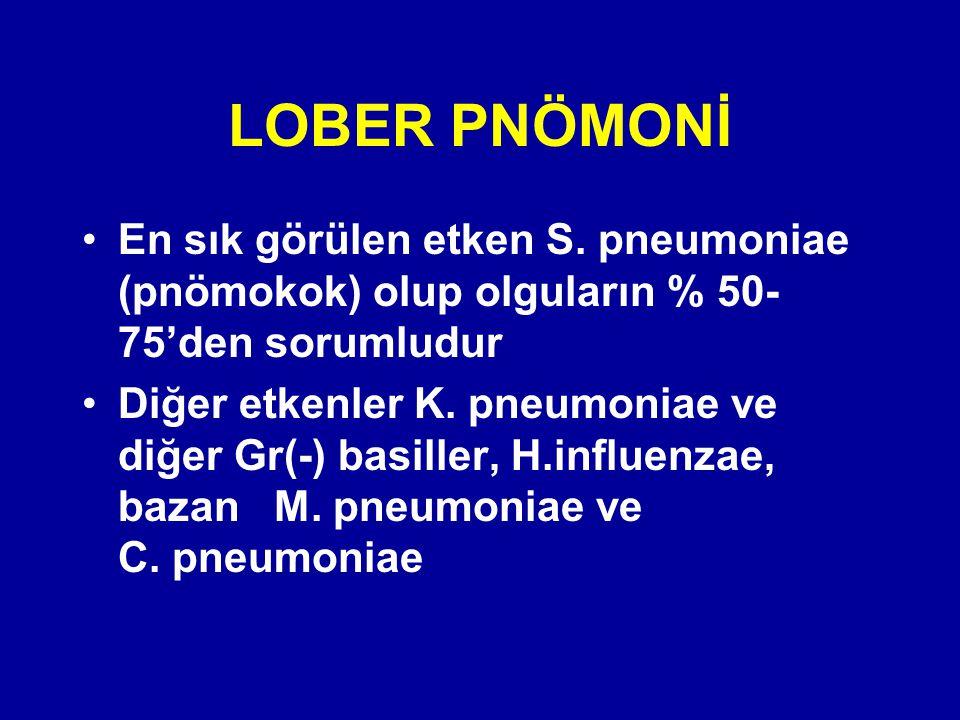 En sık görülen etken S. pneumoniae (pnömokok) olup olguların % 50- 75'den sorumludur Diğer etkenler K. pneumoniae ve diğer Gr(-) basiller, H.influenza