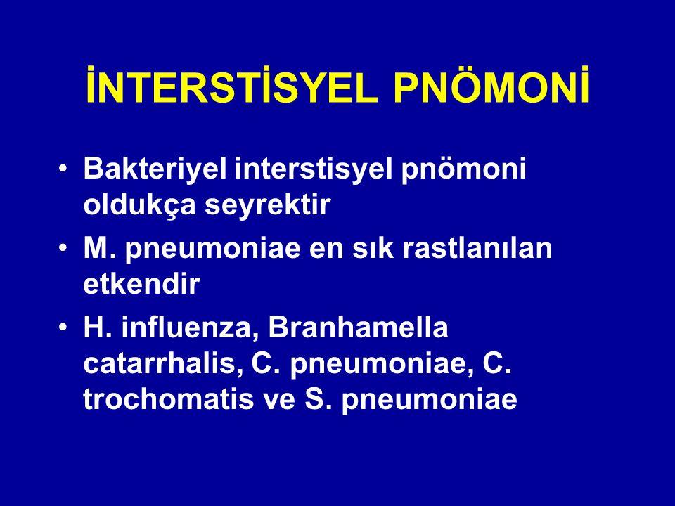 İNTERSTİSYEL PNÖMONİ Bakteriyel interstisyel pnömoni oldukça seyrektir M. pneumoniae en sık rastlanılan etkendir H. influenza, Branhamella catarrhalis