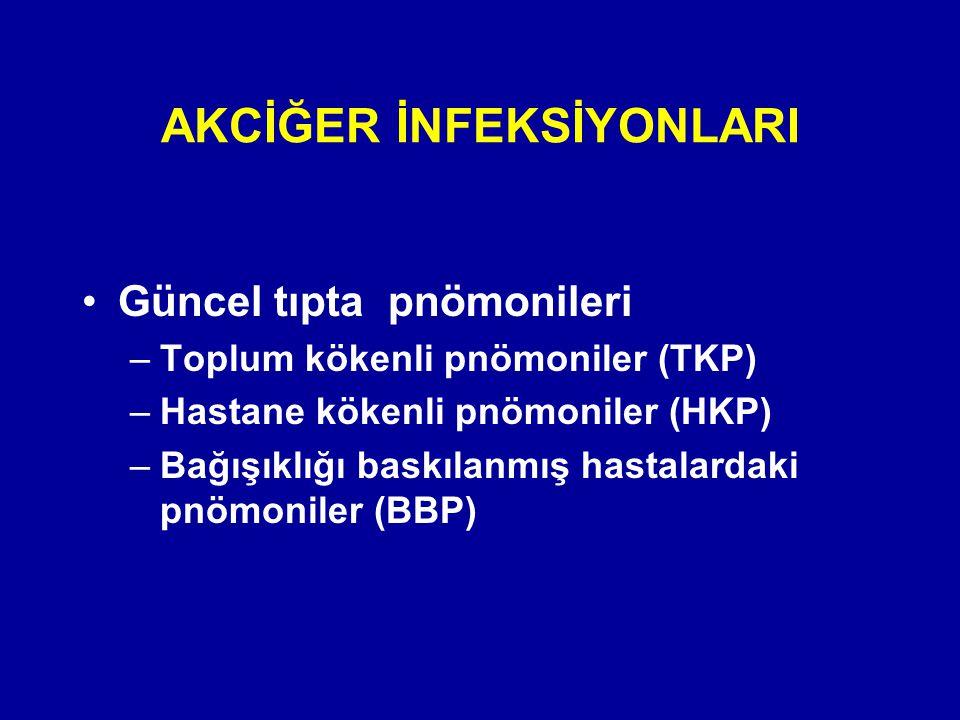 Güncel tıpta pnömonileri –Toplum kökenli pnömoniler (TKP) –Hastane kökenli pnömoniler (HKP) –Bağışıklığı baskılanmış hastalardaki pnömoniler (BBP) AKC