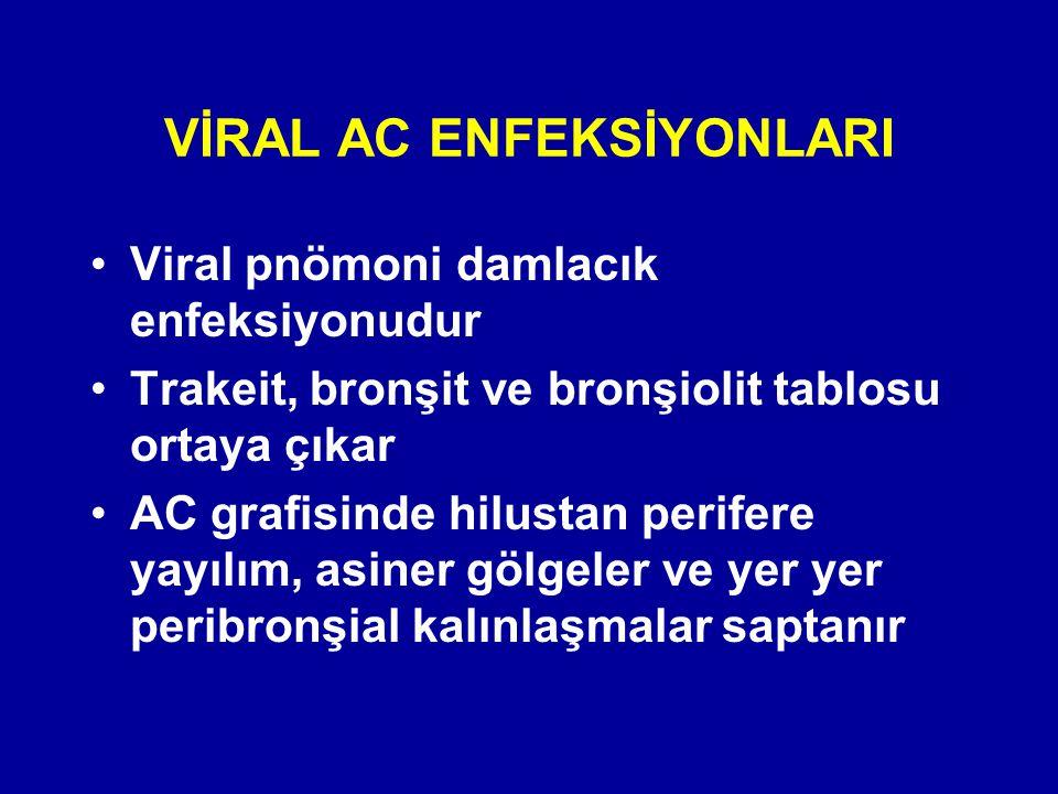 Viral pnömoni damlacık enfeksiyonudur Trakeit, bronşit ve bronşiolit tablosu ortaya çıkar AC grafisinde hilustan perifere yayılım, asiner gölgeler ve