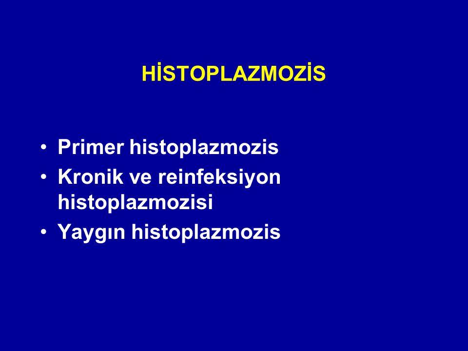 HİSTOPLAZMOZİS Primer histoplazmozis Kronik ve reinfeksiyon histoplazmozisi Yaygın histoplazmozis