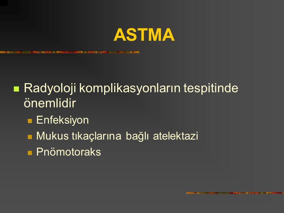 Radyoloji komplikasyonların tespitinde önemlidir Enfeksiyon Mukus tıkaçlarına bağlı atelektazi Pnömotoraks ASTMA