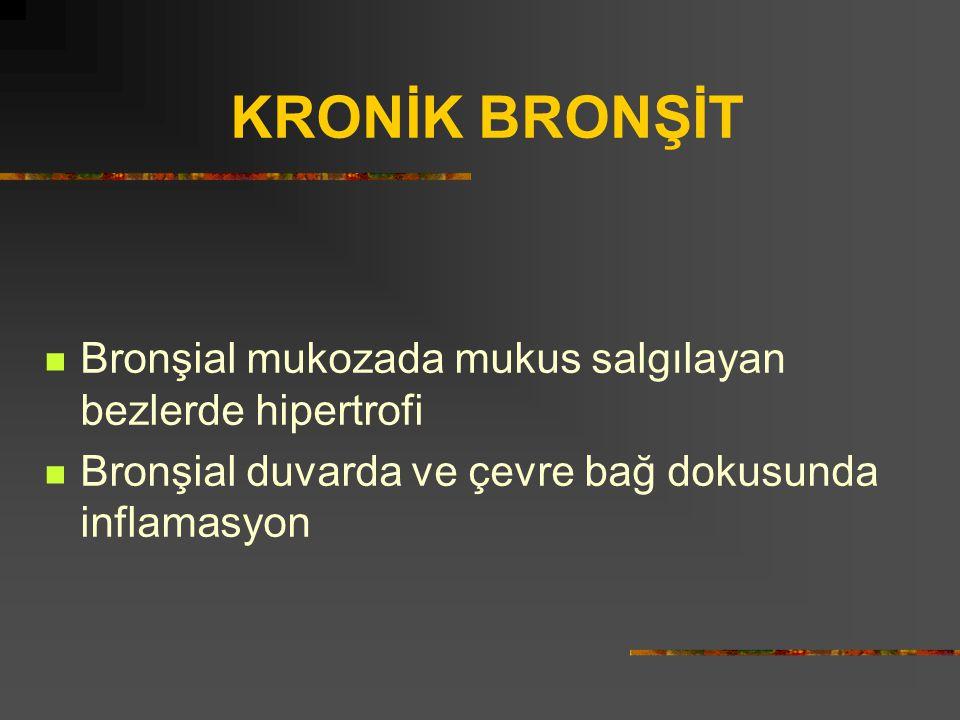 KRONİK BRONŞİT Bronşial mukozada mukus salgılayan bezlerde hipertrofi Bronşial duvarda ve çevre bağ dokusunda inflamasyon