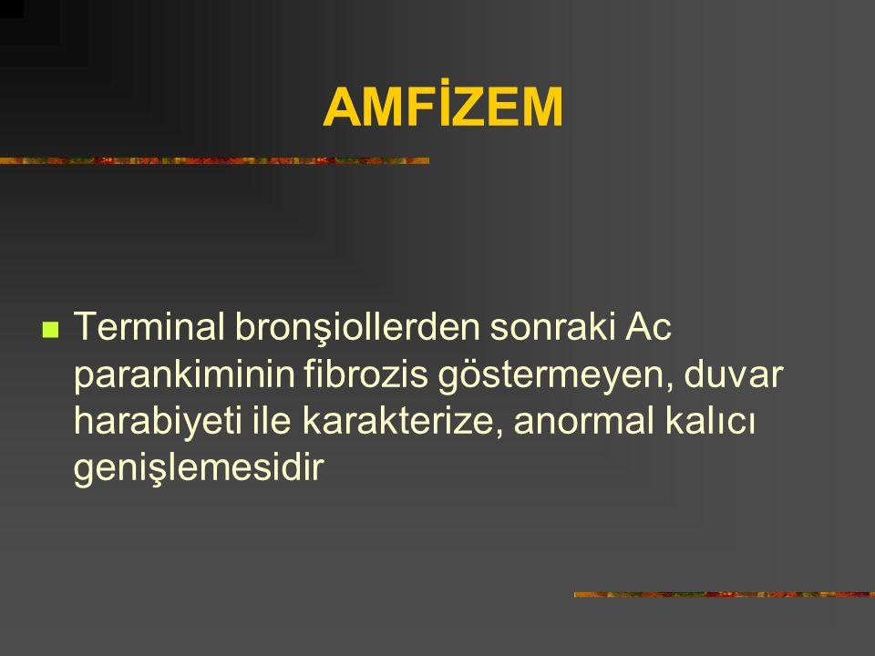 AMFİZEM Terminal bronşiollerden sonraki Ac parankiminin fibrozis göstermeyen, duvar harabiyeti ile karakterize, anormal kalıcı genişlemesidir