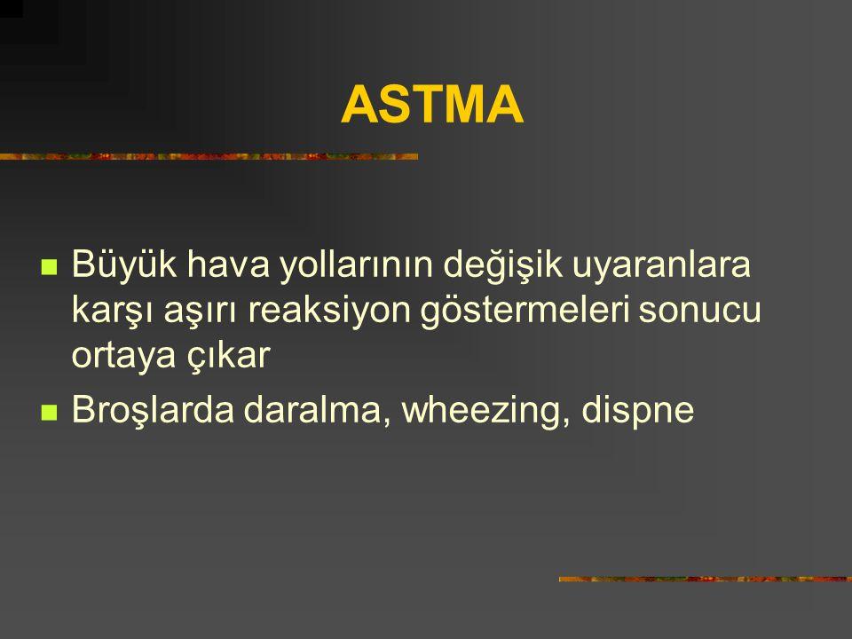 ASTMA Büyük hava yollarının değişik uyaranlara karşı aşırı reaksiyon göstermeleri sonucu ortaya çıkar Broşlarda daralma, wheezing, dispne