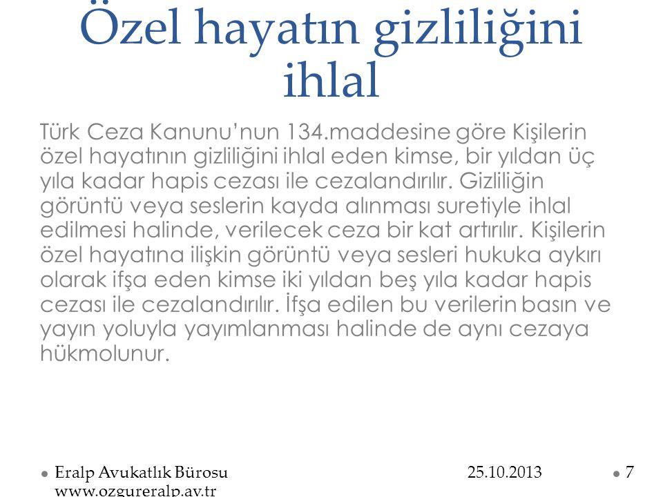 Kişisel verilerin kaydedilmesi Türk Ceza Kanunu'nun 135.