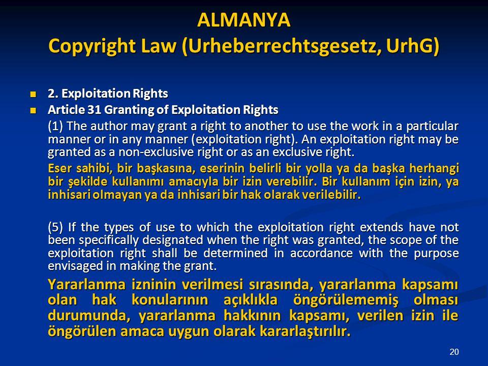 ALMANYA Copyright Law (Urheberrechtsgesetz, UrhG) 2. Exploitation Rights 2. Exploitation Rights Article 31 Granting of Exploitation Rights Article 31