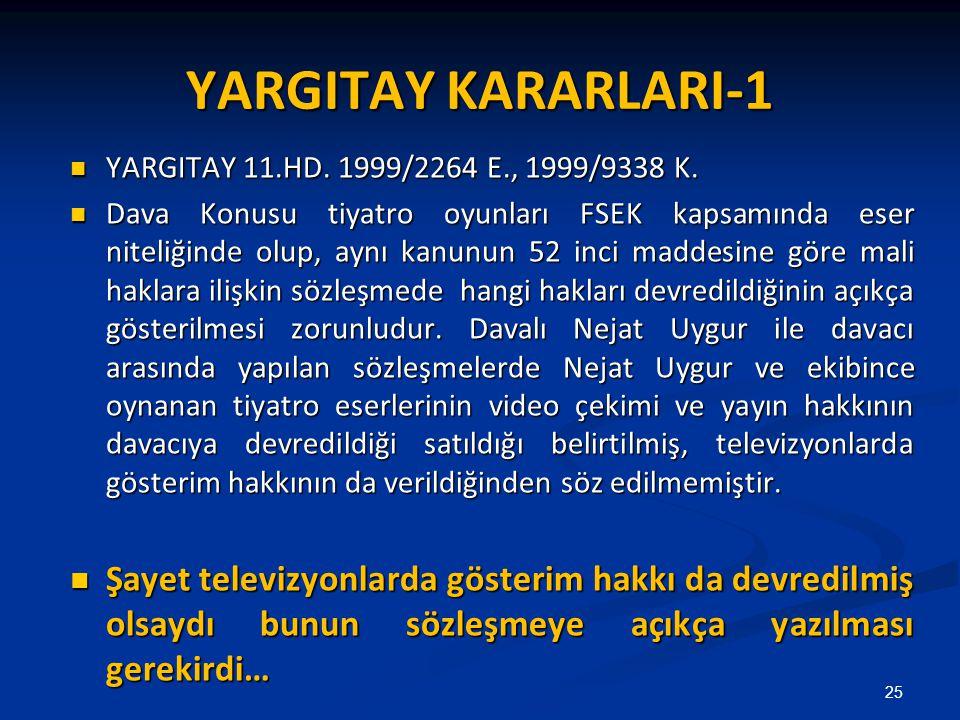 YARGITAY KARARLARI-1 YARGITAY 11.HD. 1999/2264 E., 1999/9338 K. YARGITAY 11.HD. 1999/2264 E., 1999/9338 K. Dava Konusu tiyatro oyunları FSEK kapsamınd