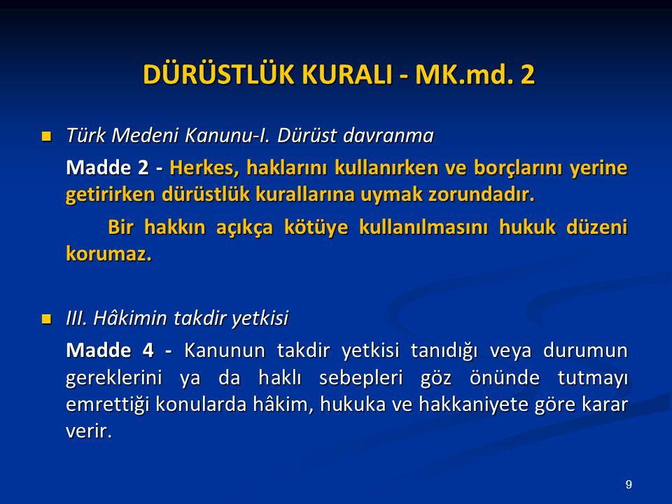 DÜRÜSTLÜK KURALI - MK.md. 2 Türk Medeni Kanunu-I. Dürüst davranma Türk Medeni Kanunu-I. Dürüst davranma Madde 2 - Herkes, haklarını kullanırken ve bor