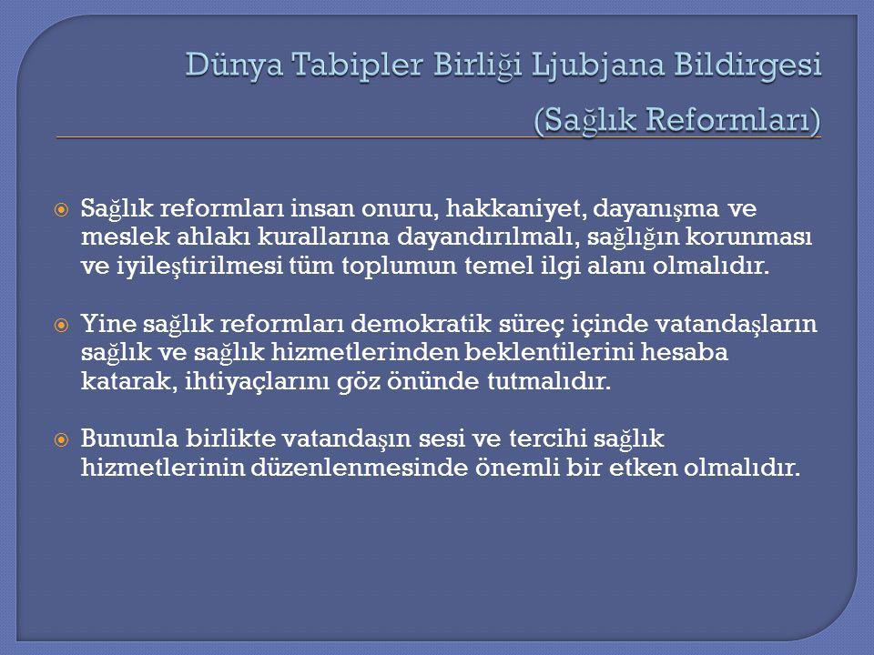  Sa ğ lık reformları insan onuru, hakkaniyet, dayanı ş ma ve meslek ahlakı kurallarına dayandırılmalı, sa ğ lı ğ ın korunması ve iyile ş tirilmesi tü
