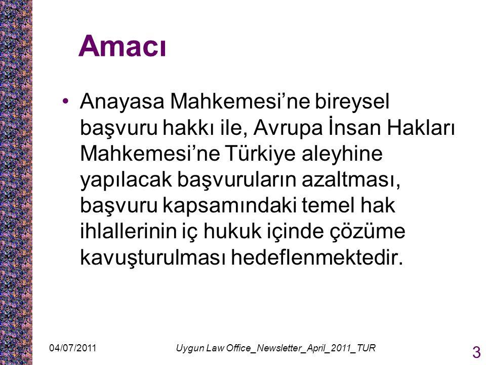 Amacı Anayasa Mahkemesi'ne bireysel başvuru hakkı ile, Avrupa İnsan Hakları Mahkemesi'ne Türkiye aleyhine yapılacak başvuruların azaltması, başvuru ka