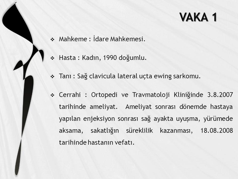 VAKA 1  Mahkeme : İdare Mahkemesi. Hasta : Kadın, 1990 doğumlu.