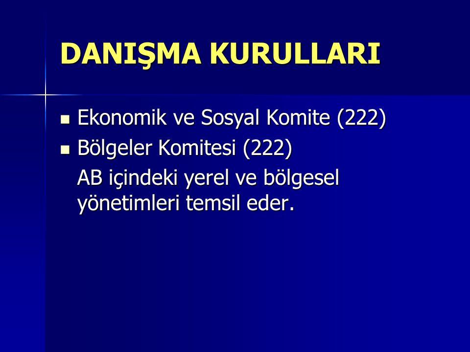 DANIŞMA KURULLARI Ekonomik ve Sosyal Komite (222) Ekonomik ve Sosyal Komite (222) Bölgeler Komitesi (222) Bölgeler Komitesi (222) AB içindeki yerel ve bölgesel yönetimleri temsil eder.