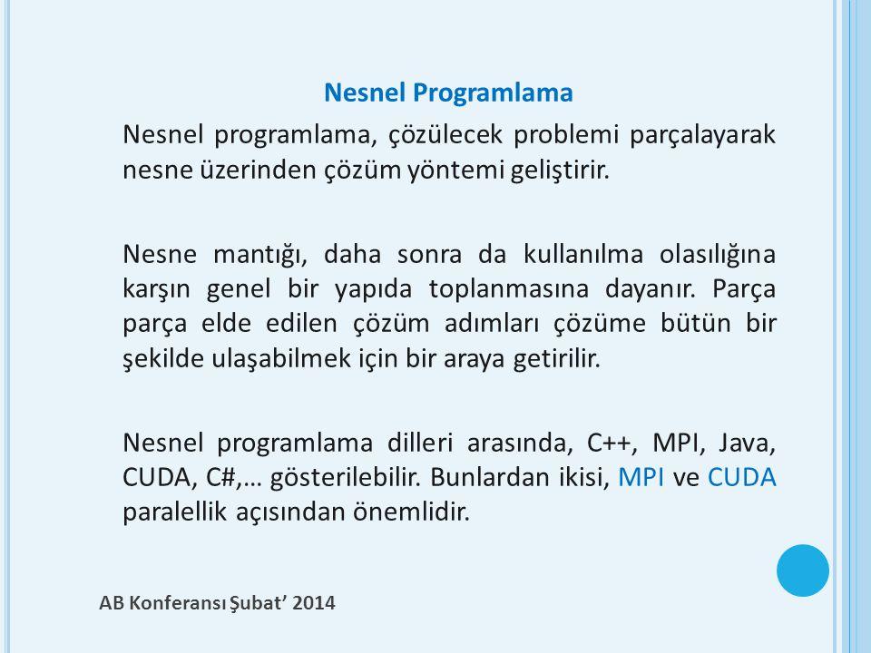 Nesnel Programlama Nesnel programlama, çözülecek problemi parçalayarak nesne üzerinden çözüm yöntemi geliştirir.
