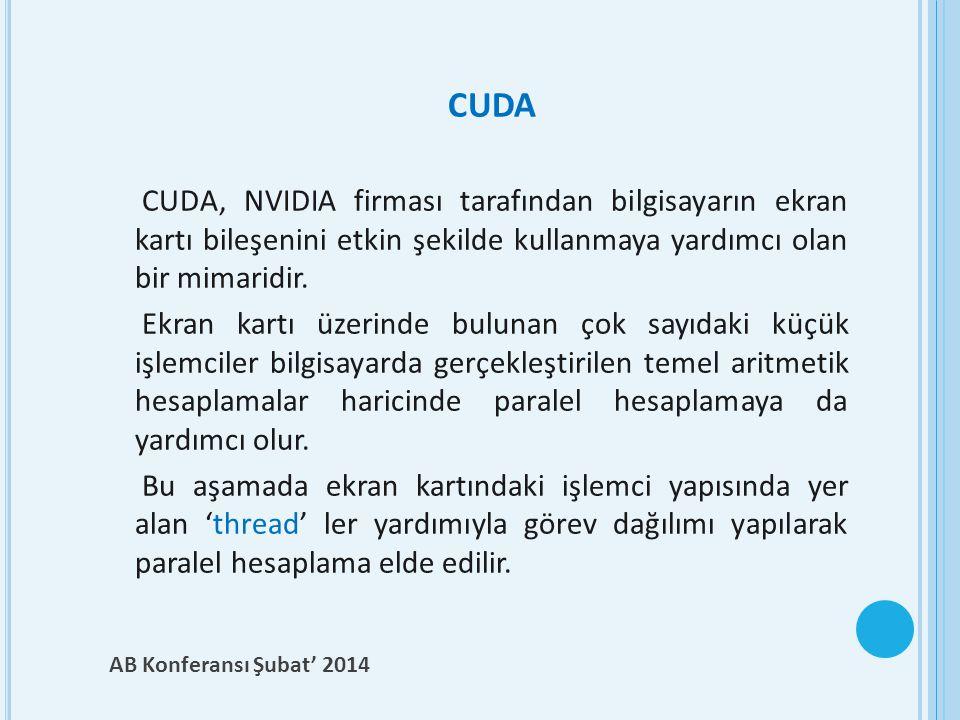 CUDA CUDA, NVIDIA firması tarafından bilgisayarın ekran kartı bileşenini etkin şekilde kullanmaya yardımcı olan bir mimaridir. Ekran kartı üzerinde bu