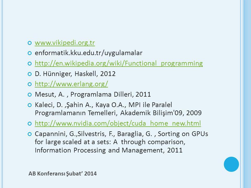 www.vikipedi.org.tr enformatik.kku.edu.tr/uygulamalar http://en.wikipedia.org/wiki/Functional_programming D. Hünniger, Haskell, 2012 http://www.erlang