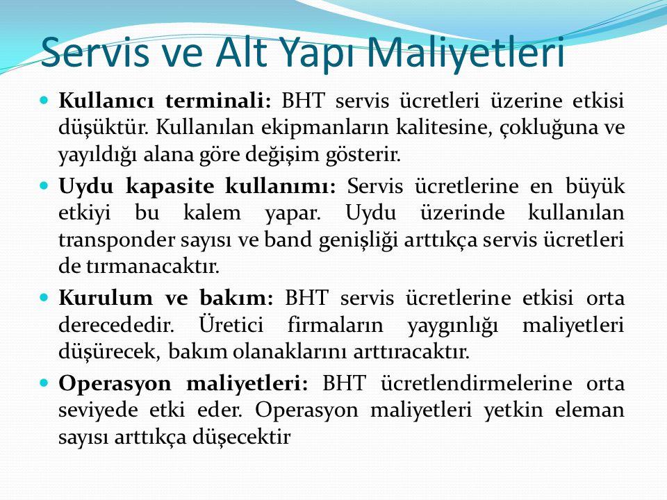 Servis ve Alt Yapı Maliyetleri Kullanıcı terminali: BHT servis ücretleri üzerine etkisi düşüktür.