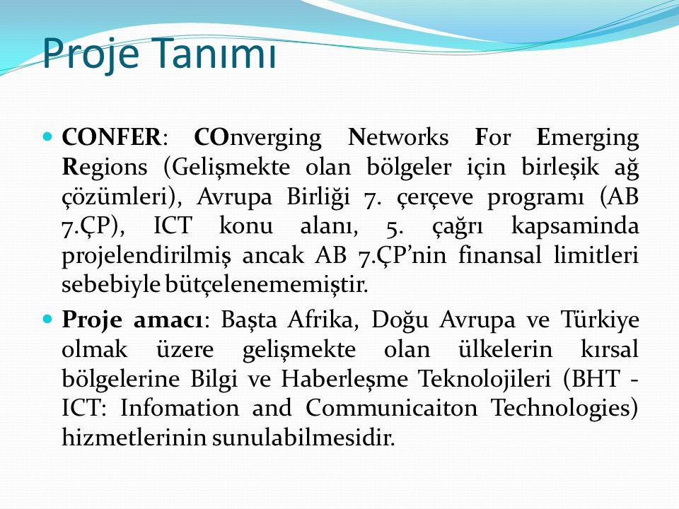 Proje Tanımı CONFER: COnverging Networks For Emerging Regions (Gelişmekte olan bölgeler için birleşik ağ çözümleri), Avrupa Birliği 7.