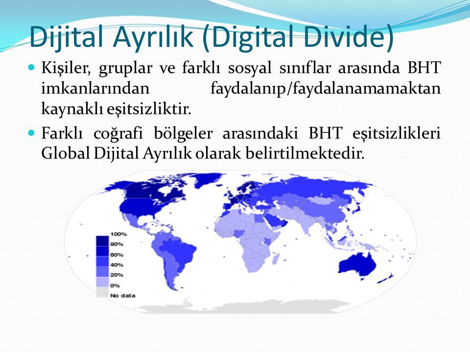 Dijital Ayrılık (Digital Divide) Kişiler, gruplar ve farklı sosyal sınıflar arasında BHT imkanlarından faydalanıp/faydalanamamaktan kaynaklı eşitsizliktir.